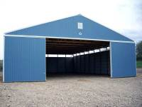 60x80x16 post-frame agricultural building in Chicora, PA - open doors