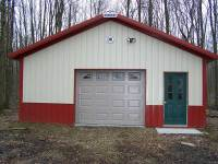 24x32x9 post-frame garage in Cochranton, PA, front view