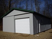 Post-frame garage 24'x40'x9' in Cooperstown, PA, corner view